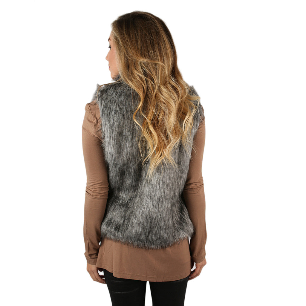 London Bound Faux Fur Vest Silver