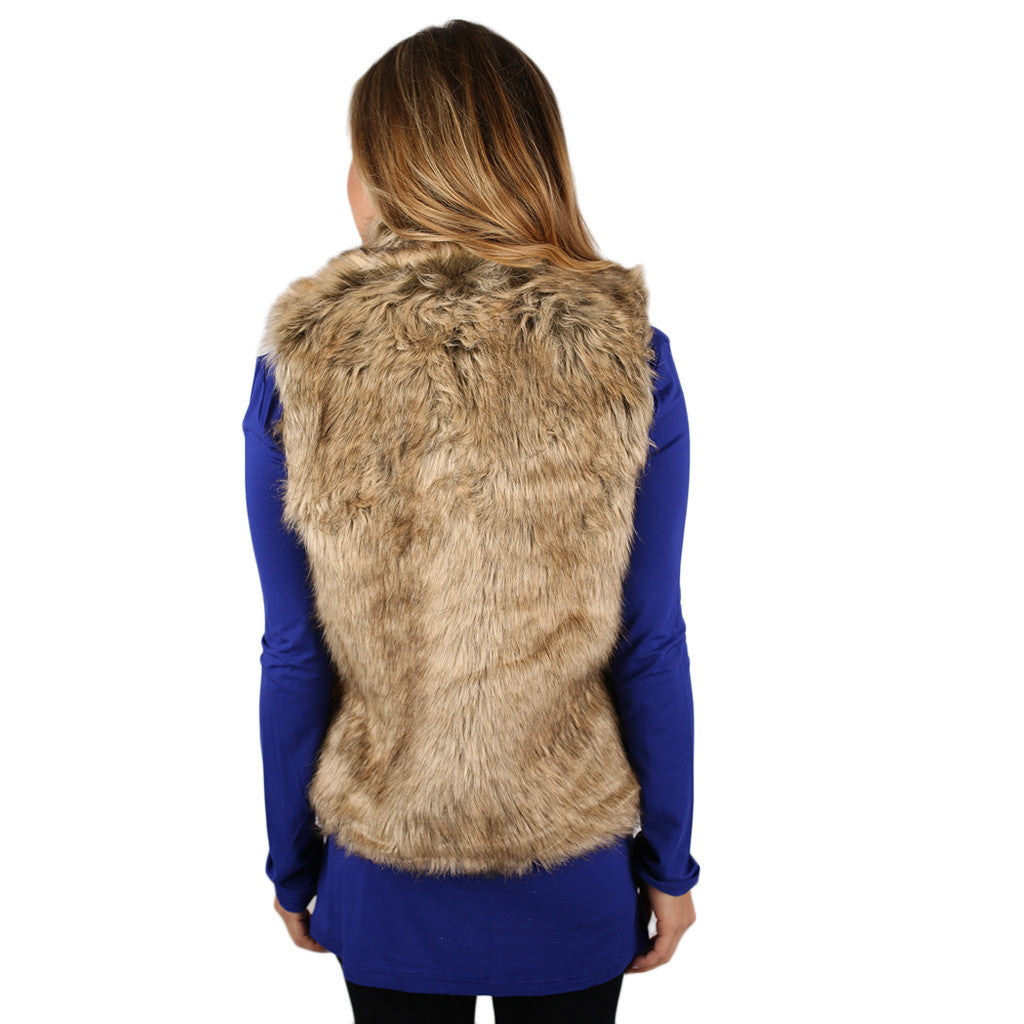 London Bound Faux Fur Vest Tan