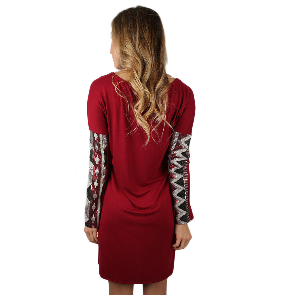 Sequin Devotion Dress Burgundy