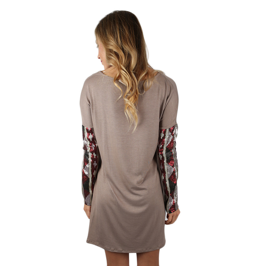 Sequin Devotion Dress Taupe