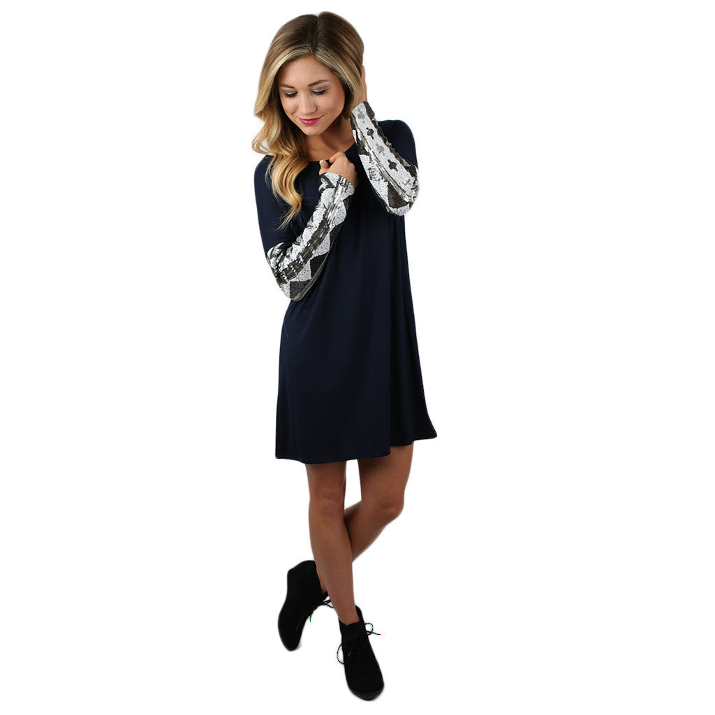 Sequin Devotion Dress Navy