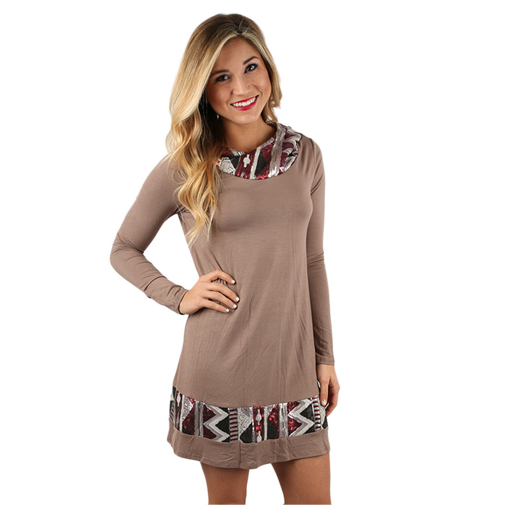 Keep on Sparkling Tunic in Taupe