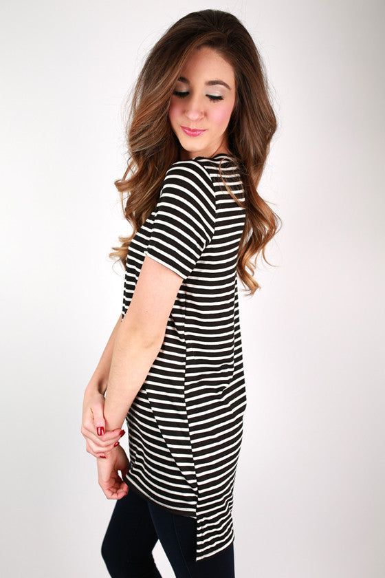 Striped Desire Tee Tunic in Black