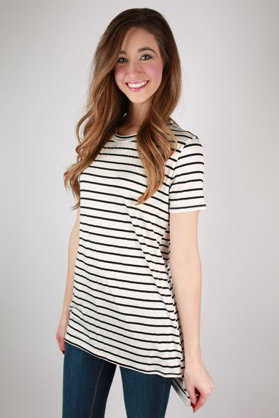 Striped Desire Tee Tunic in Ivory