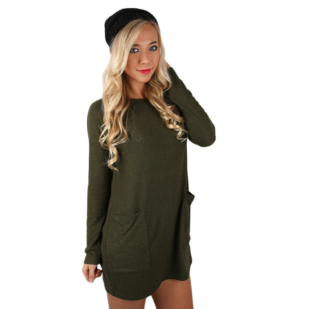 Pocket Full Of Cozy Tunic in Olive
