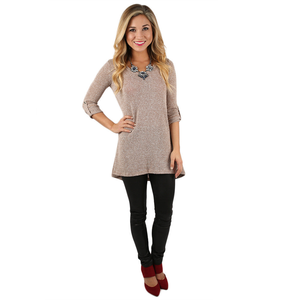 Sweet Traditions Tunic in Taupe