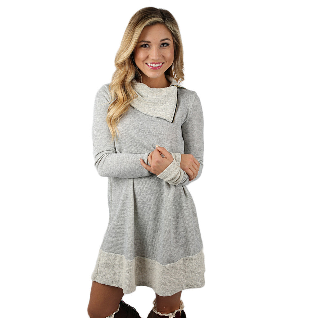 Sight Seeing French Terry Dress in Heather Grey