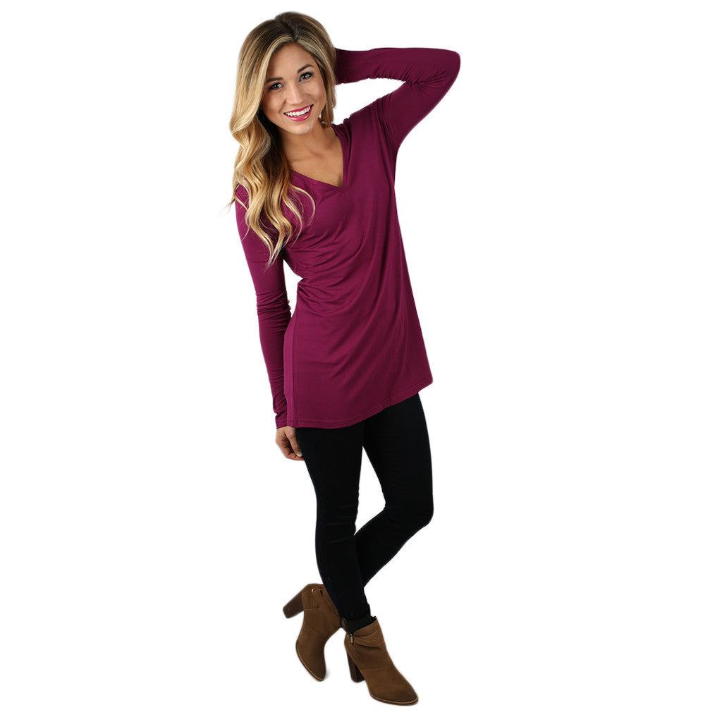 PIKO Long Sleeve V-Tee in Orchid