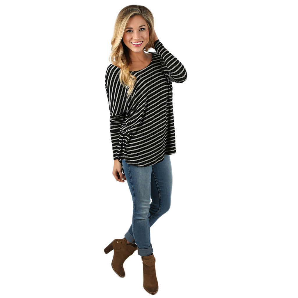 The Sweet Life in Stripes Top in Black