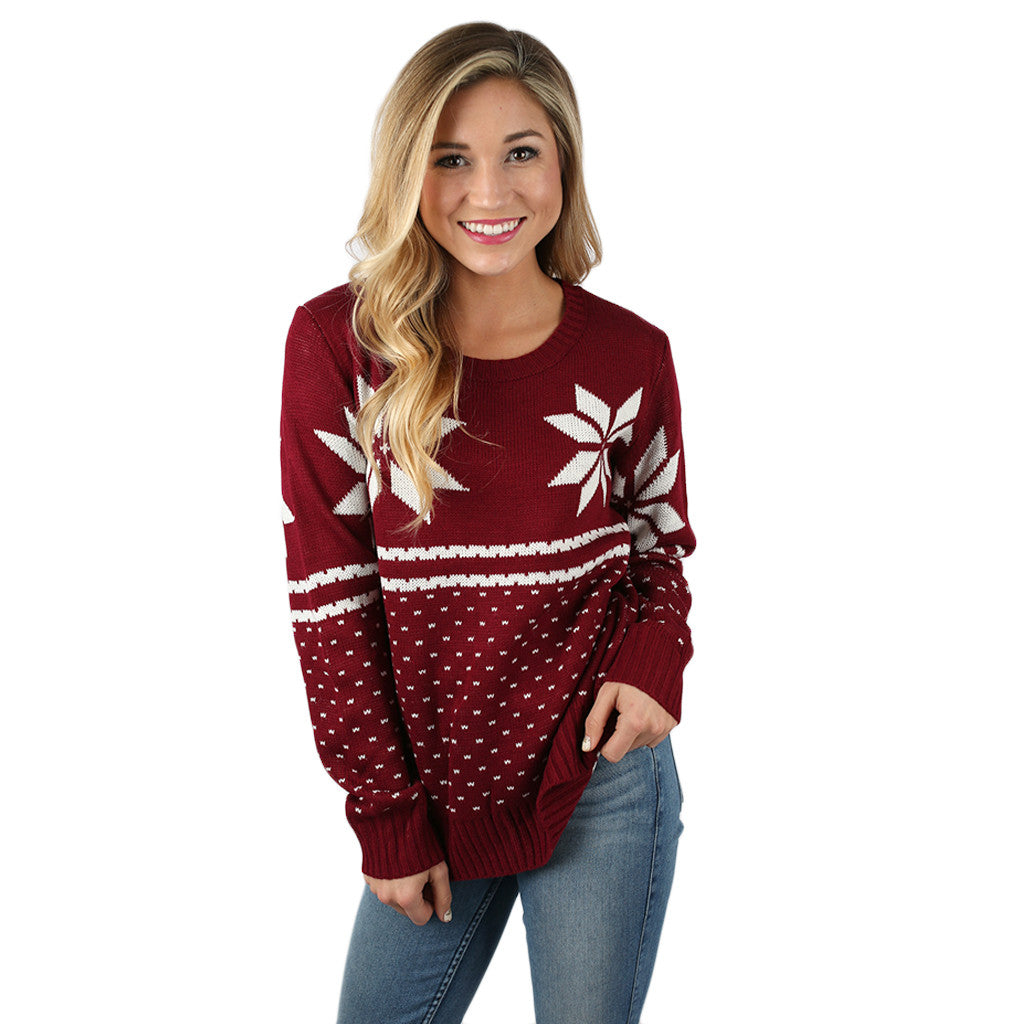First Flurries Sweater in Wine