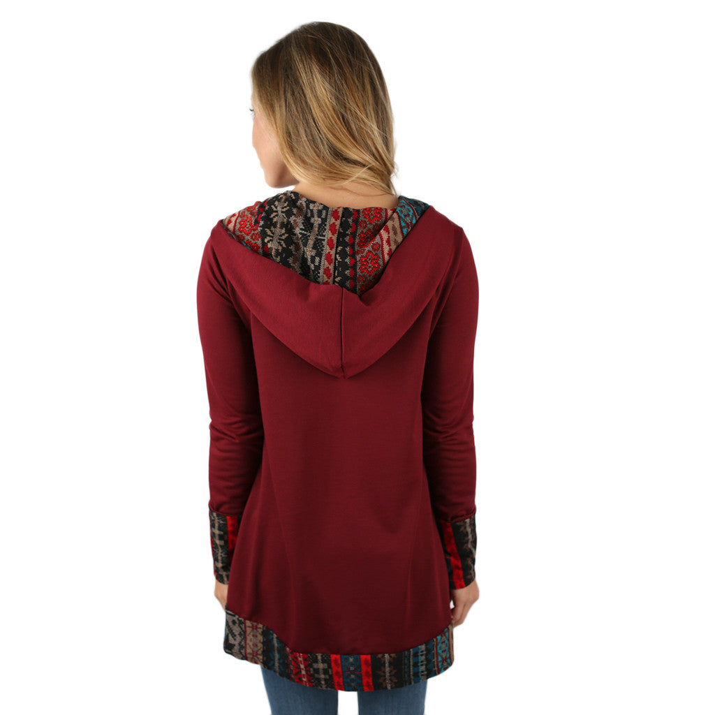 Busy Trendsetting Hoodie in Burgundy