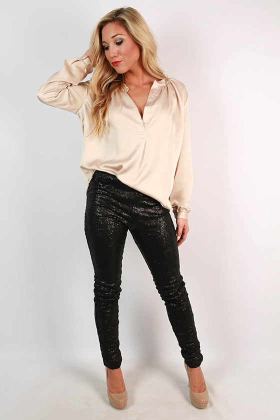 Swoon Worthy Sequin Leggings in Black