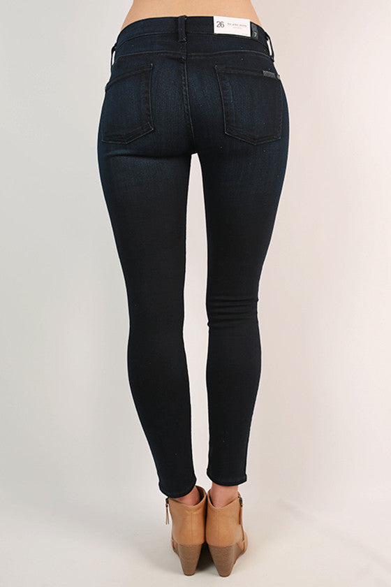 Slim Illusion Ankle Skinny in Pristine Blue Black