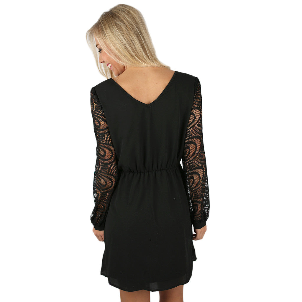Just Getting Started Lace Dress Black