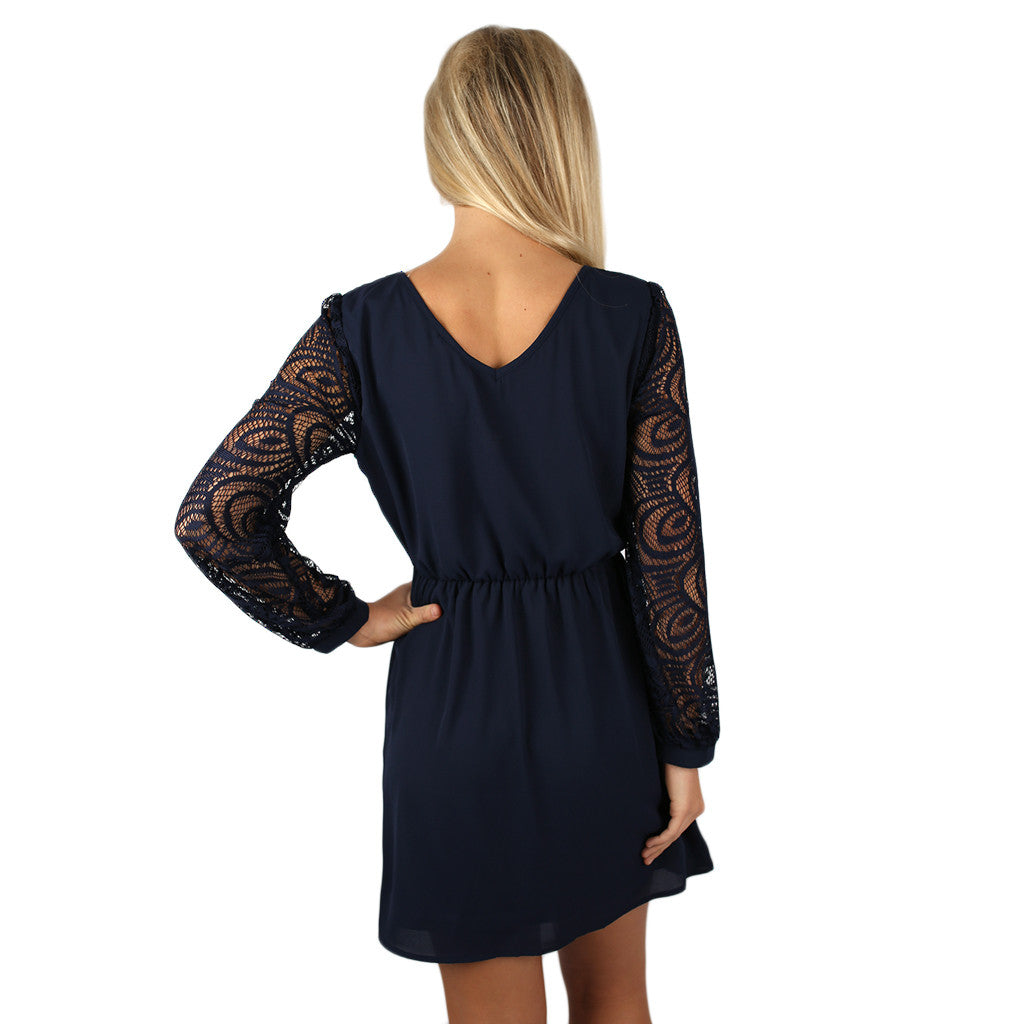 Just Getting Started Lace Dress Navy