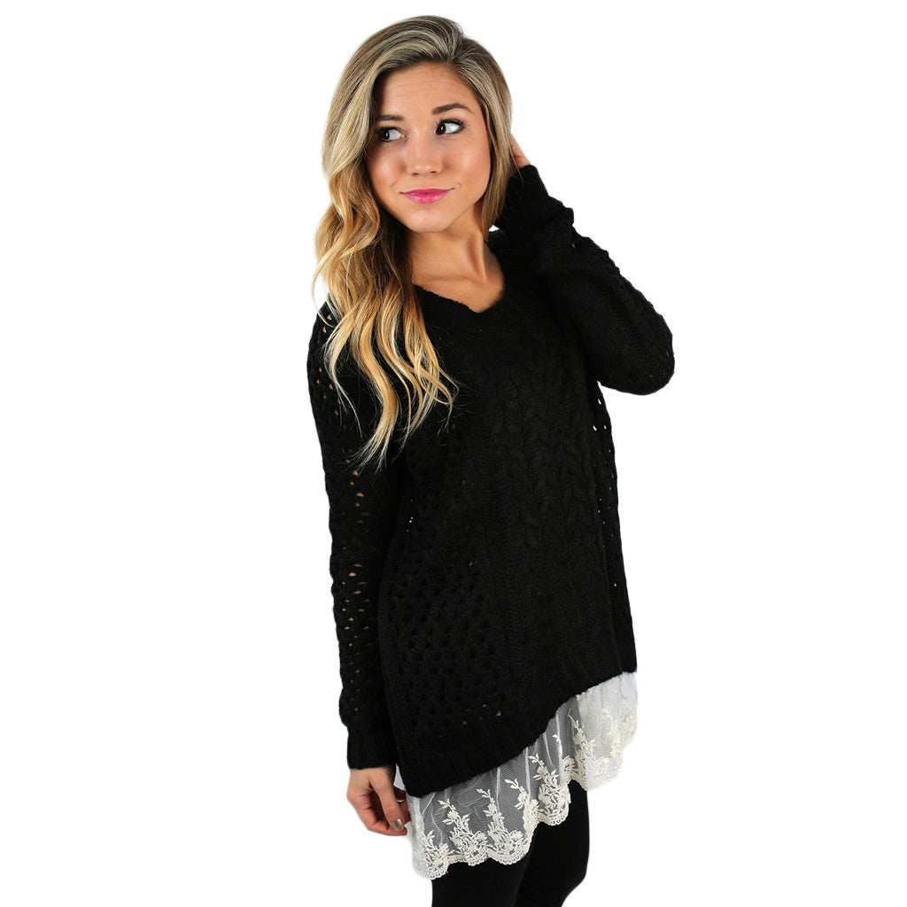 Charming In Lace Sweater in Black