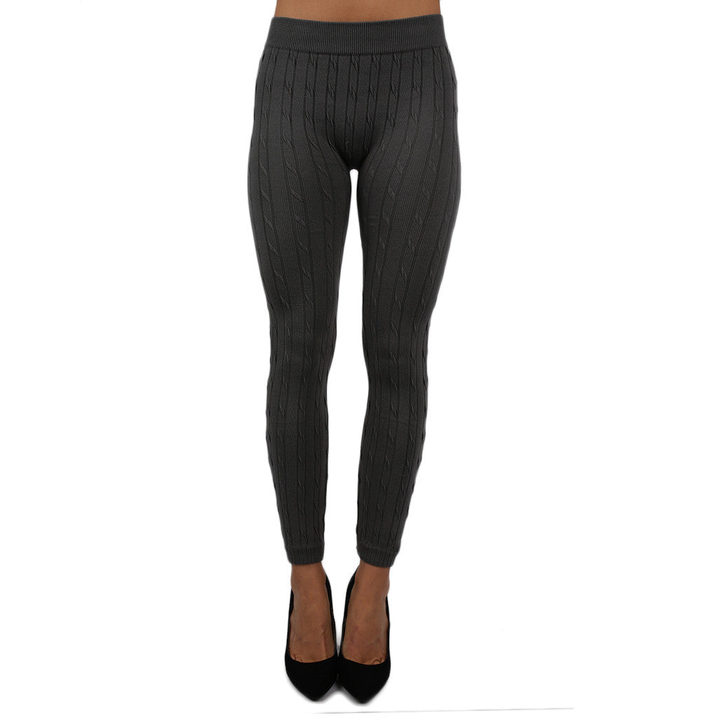 Cable Knit Cozy Legging in Charcoal