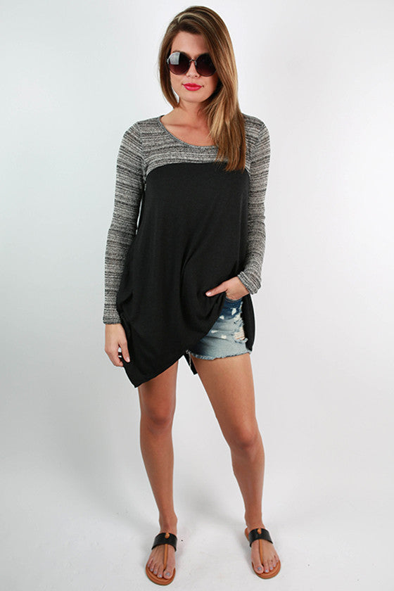 Timeless Beauty Two Tone Top in Black