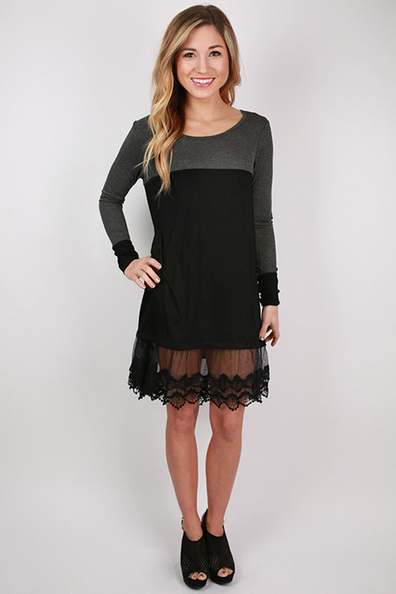 Date Night on the River Walk Dress in Charcoal