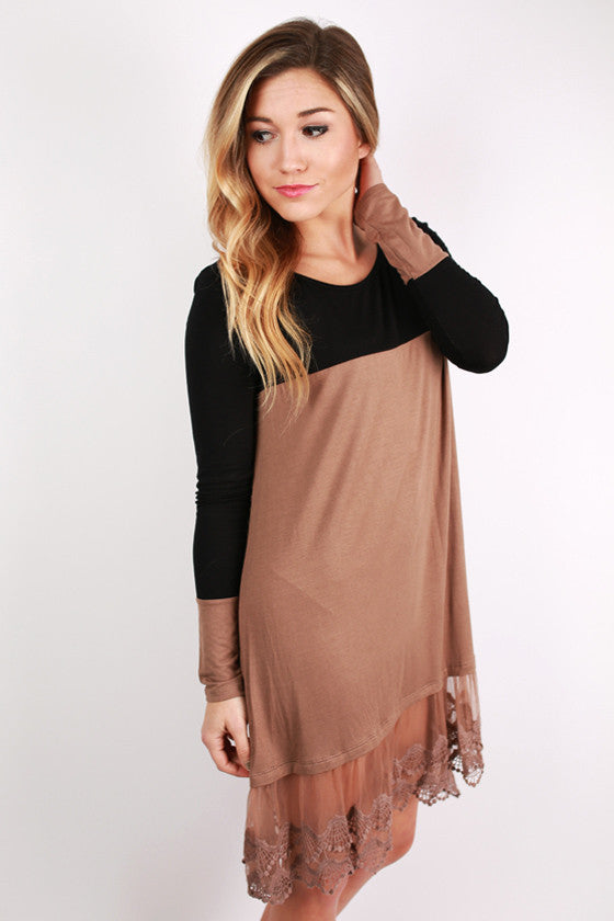 Date Night on the River Walk Dress in Taupe