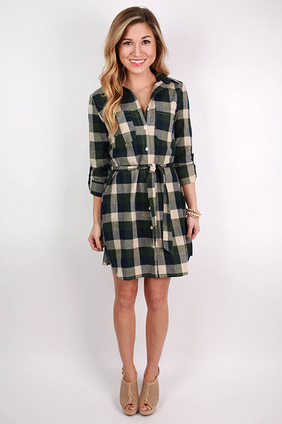Live For The Applause Tunic Dress in Forest Green