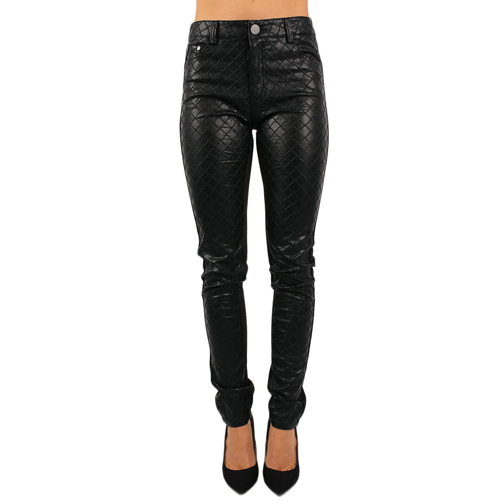 The Marilyn Quilted Faux Leather Pant Black