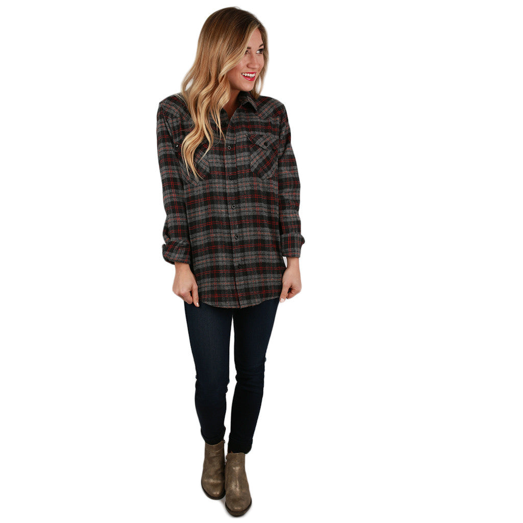Cozy Comfort Unisex Flannel in Charcoal