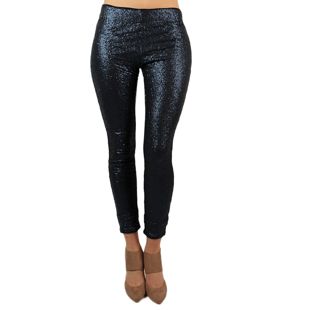 Swoon Worthy Sequin Leggings in Navy