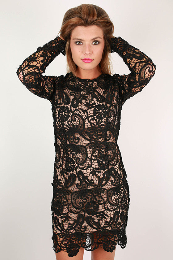 In Love with Lace Dress in Black