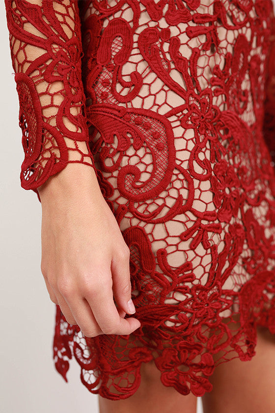 In Love with Lace Dress in Burgundy