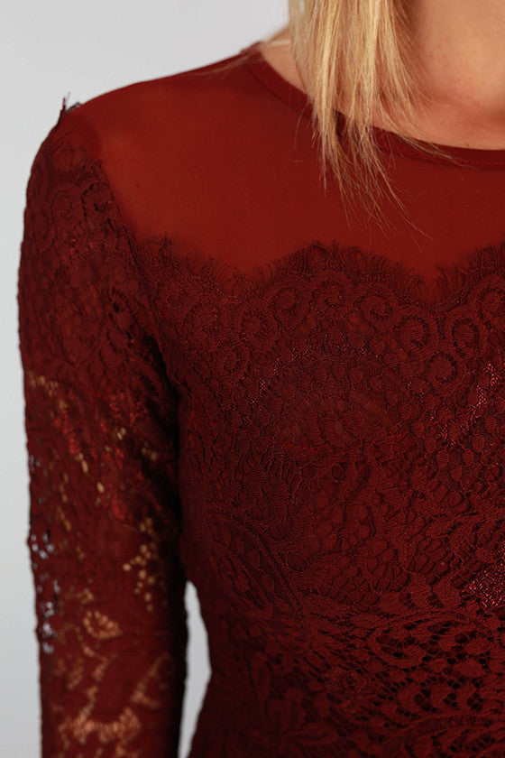 Lola Divine Lace Dress in Wine