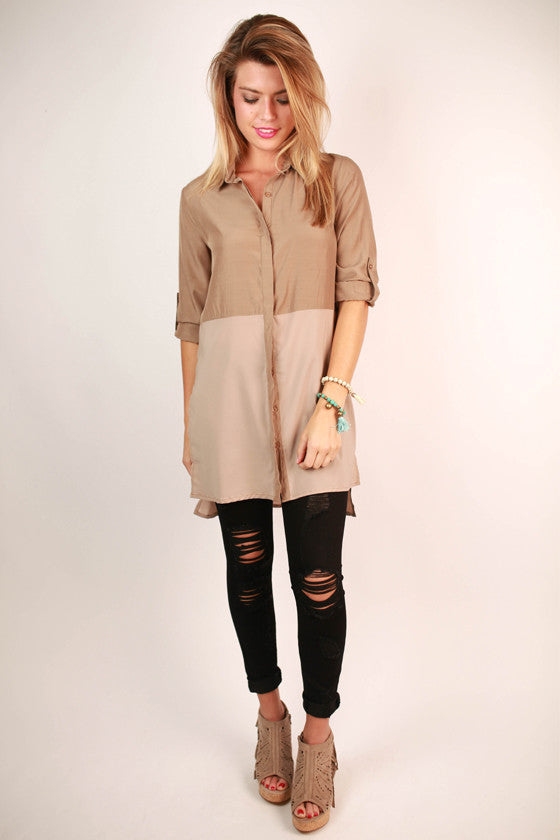 Modern Beauty Tunic in Taupe