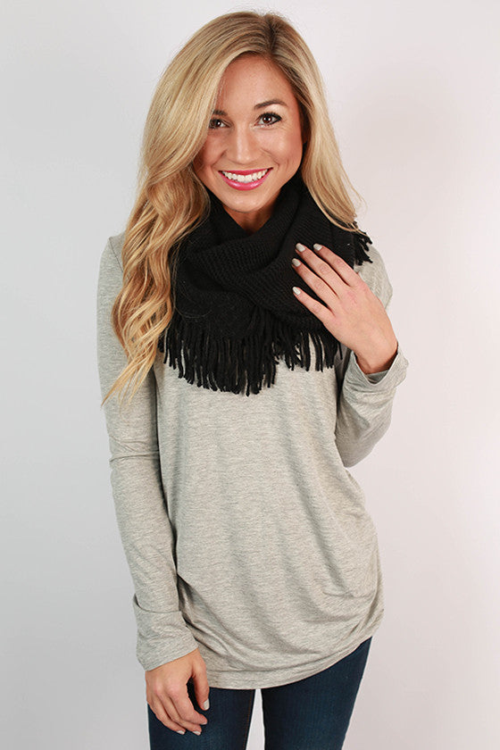 Cozy Luxury Fringe Infinity Scarf in Black