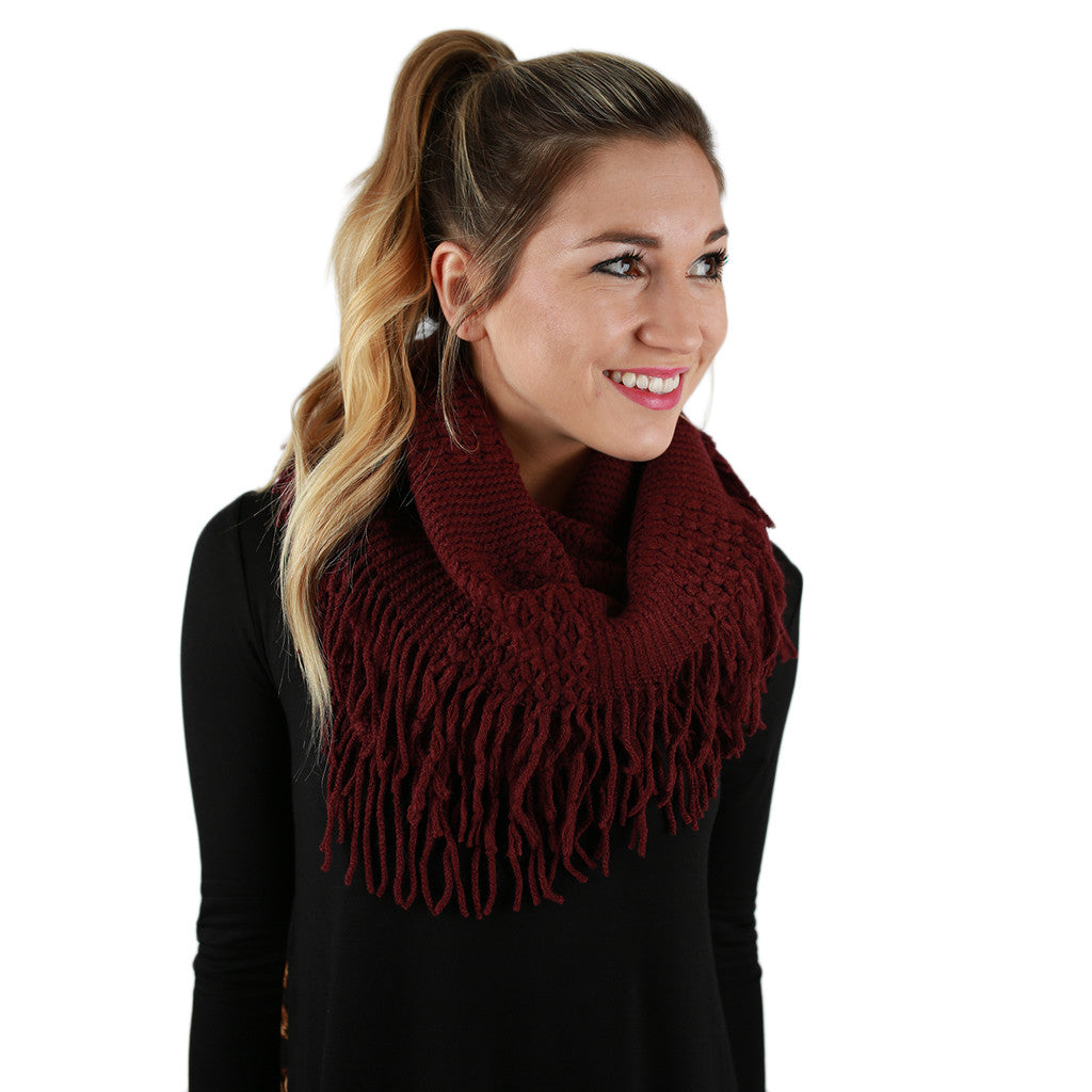 Cozy Luxury Fringe Infinity Scarf in Burgundy