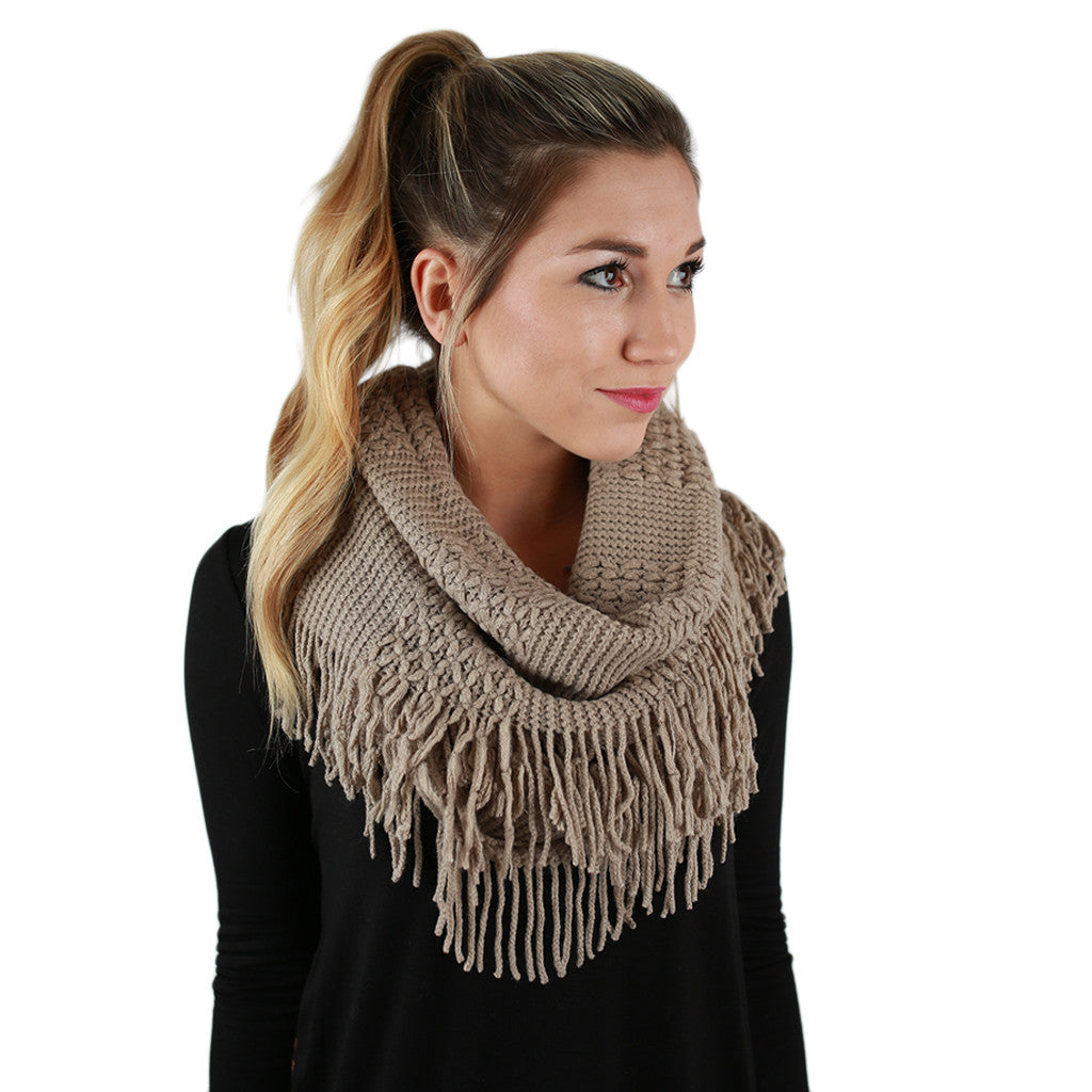 Cozy Luxury Fringe Infinity Scarf in Mocha