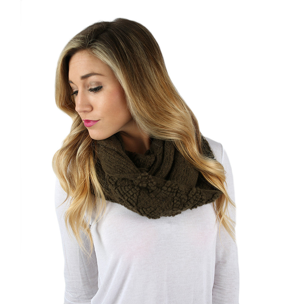 Cozy On The Slopes Infinity Scarf in Olive