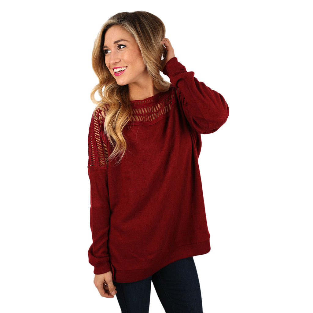 First Date Charmer Top in Burgundy