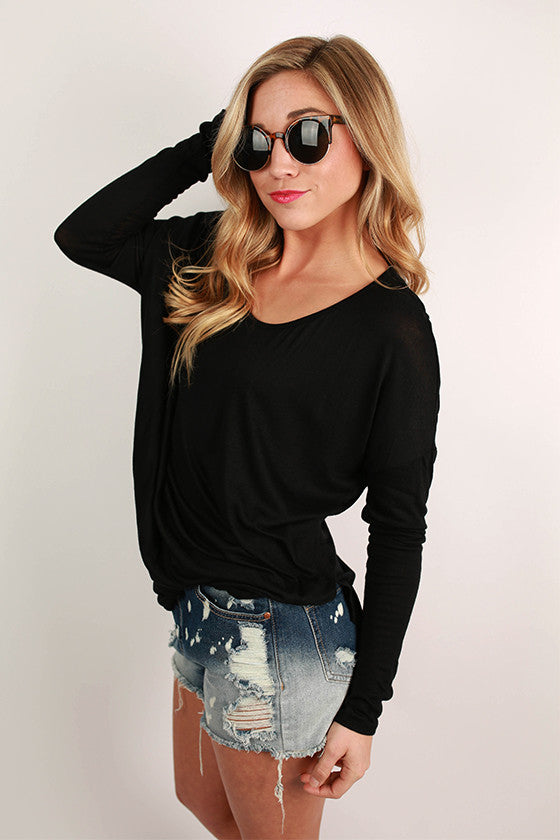 Wishful Thinking Drape Tee in Black