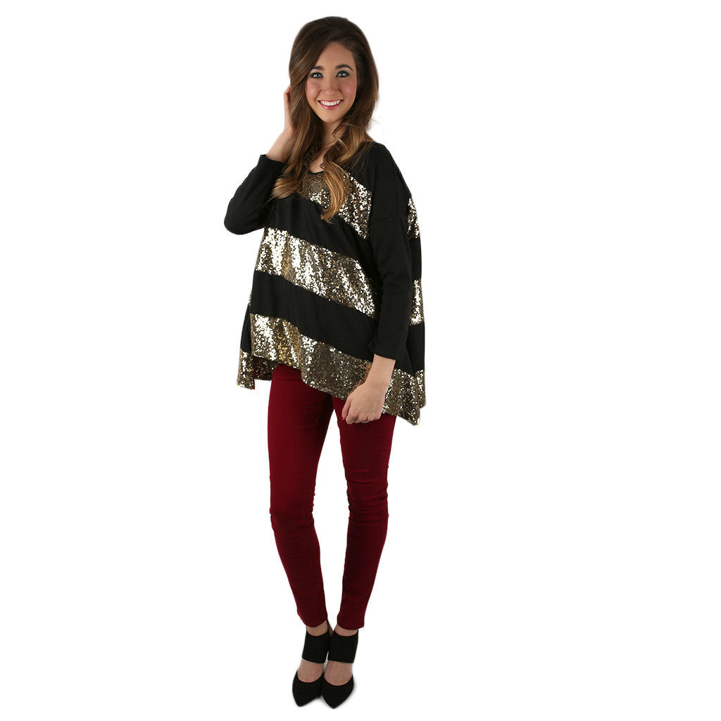 Everyday She Sparkles Tunic in Black
