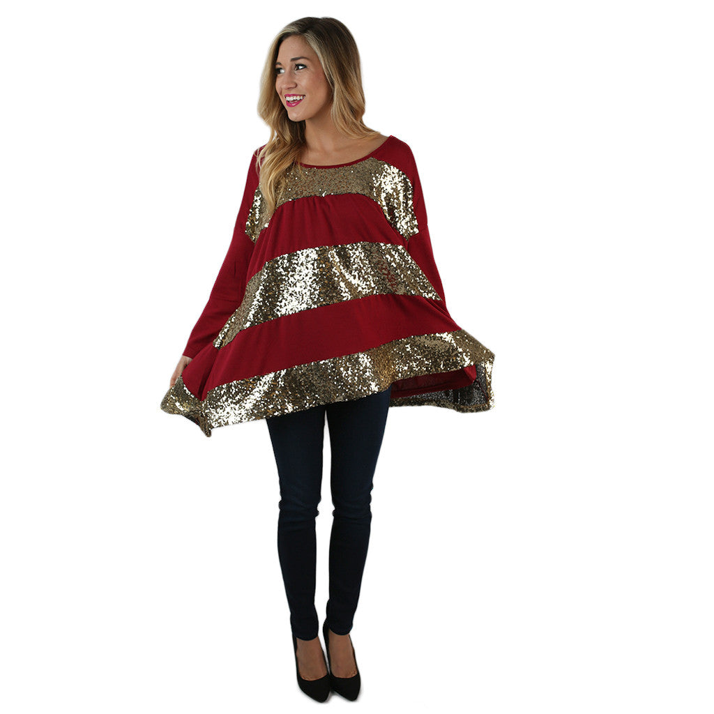 Everyday She Sparkles Tunic in Burgundy