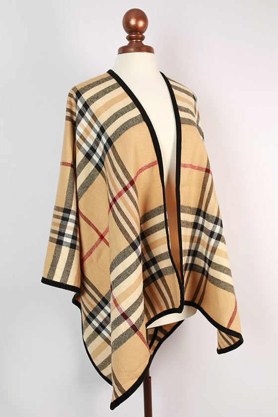 Plaid Obsession Poncho in Tan