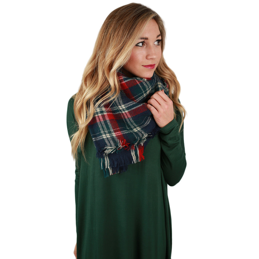 Plaid Obsession Blanket Scarf in Blue