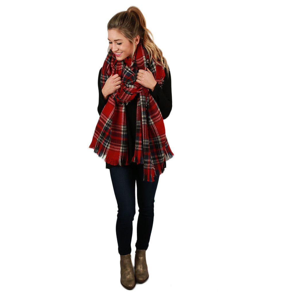 Plaid Obsession Blanket Scarf in Red