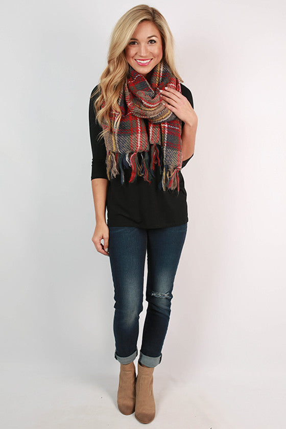 Plaid Obsession Scarf in Tan