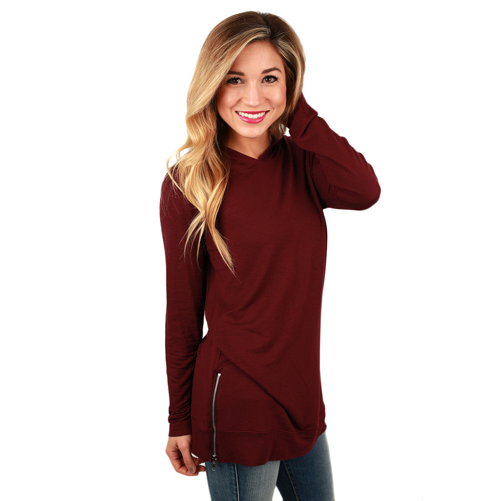 Denver Days French Terry Tunic in Burgundy