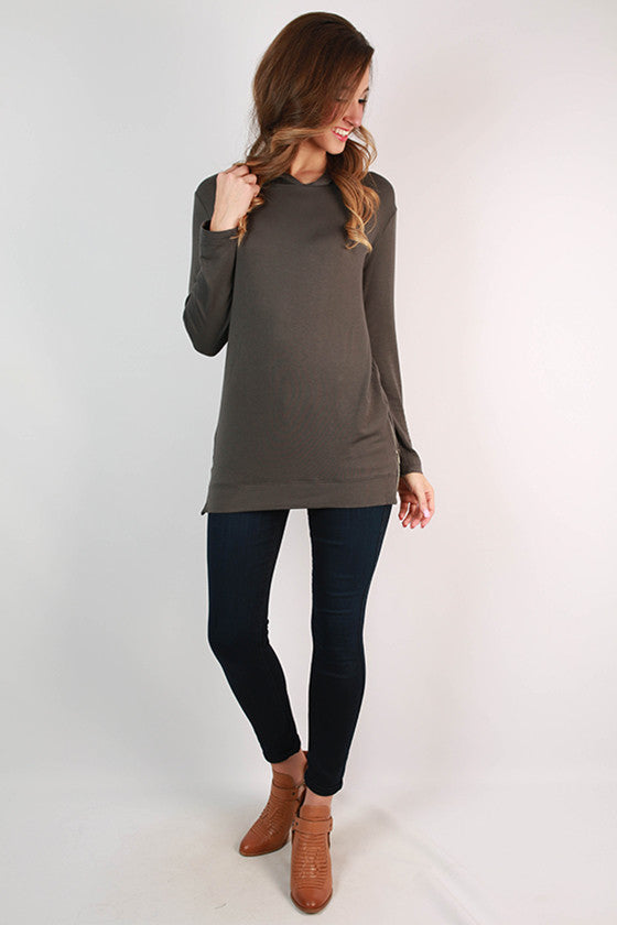 Denver Days French Terry Tunic in Charcoal