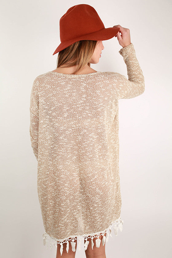 Dreaming in Fringe Details Sweater Dress in Honey