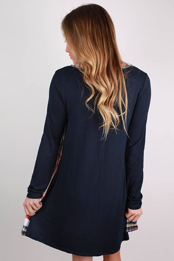 We Are The Free Flutter Dress in Navy