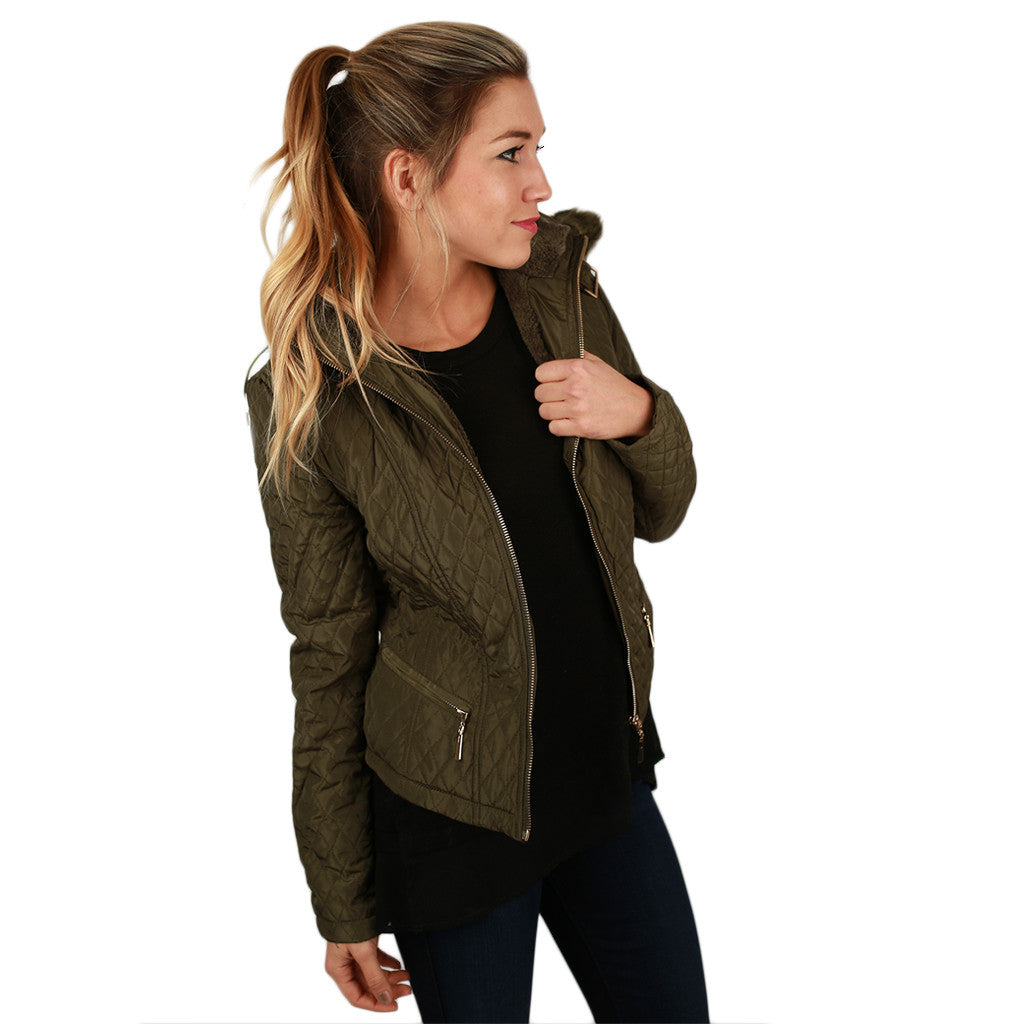 Quilted Cuddles Jacket in Olive