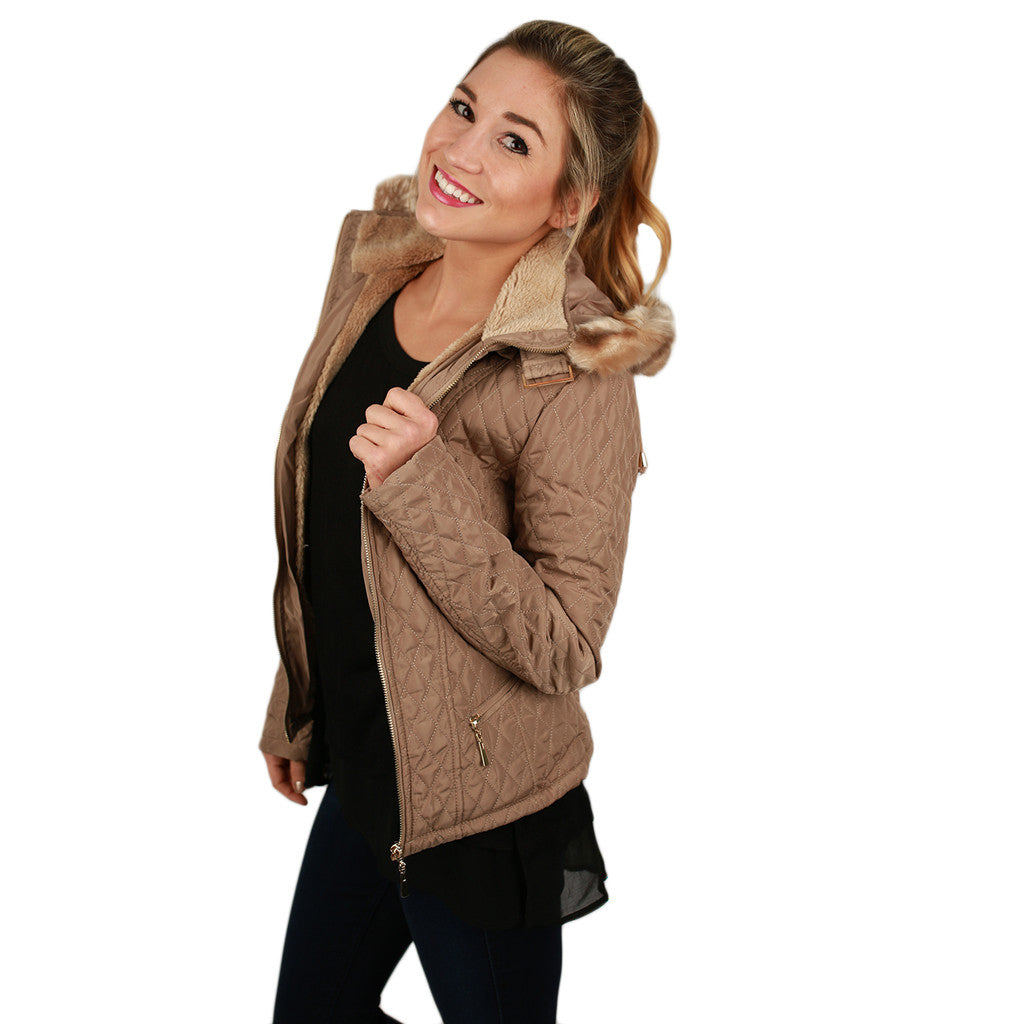 Quilted Cuddles Jacket in Beige